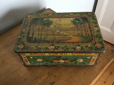 Antique Hand Painted Folk Art Pine Box
