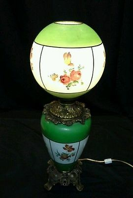 Antique 1890 Decorated Floral Milk Glass Brass Parlor Lamp Electrified