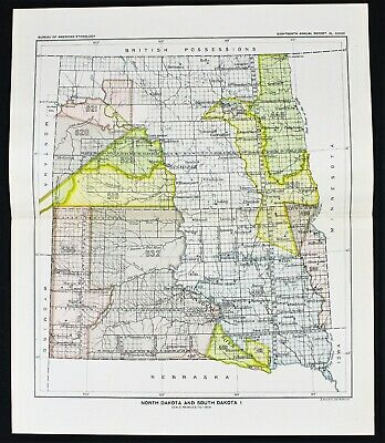 1899 NORTH DAKOTA South Dakota Map Indians Native American Ceded ...