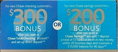 Chase Savings $225 Bonus Offer Coupon Promo ~ Exp: August 6th ~ Fast SHIP!