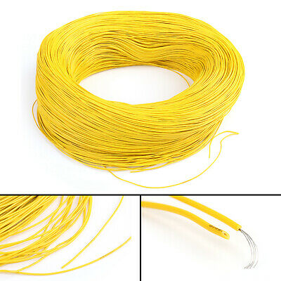 20M Yellow Flexible Stranded UL1007 28AWG Electronic Wire PVC Cable 300V ROHs C