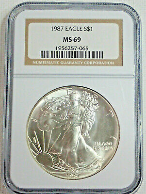 1987 American Eagle Silver $1 Ngc Ms69