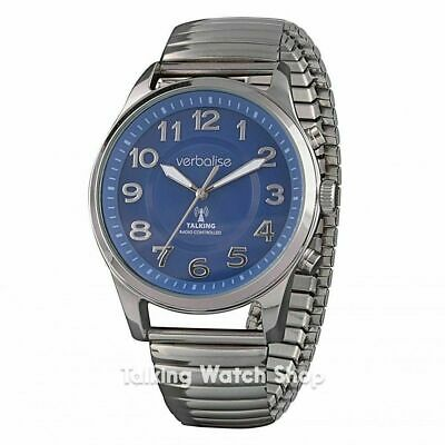 Crystal Azure Verbalise Best Men's Radio Controlled Talking Watch English voices