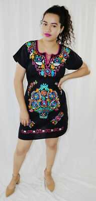 Handmade Womens Embroidered Mexican Dress Medium Floral Fiesta Cinco de Mayo