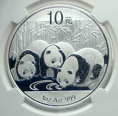 2013 CHINA 3 PANDAS Bamboo TEMPLE HEAVEN Silver 10 Yuan Chinese Coin NGC i78905