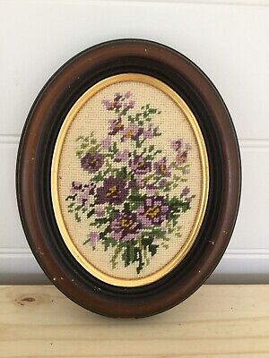 Framed Floral Needlepoint Tapestry