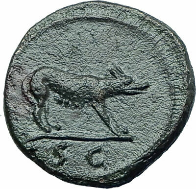 TRAJAN 109AD Rome Quadrans or Semis Authentic Ancient Roman Coin She Wolf i78748