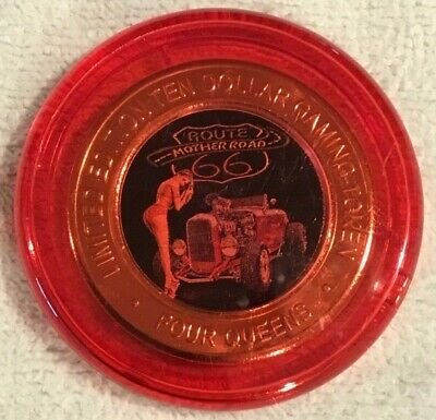 ROUTE 66 2019 FOUR QUEENS Red Cap $10 Silver Strike .999 Silver Mother Road