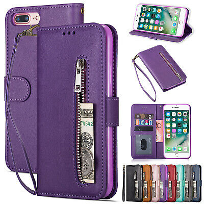 For iPhone 8 Plus 7 6 X XS Max XR Case Zipper Magnetic Flip Wallet Stand Cover