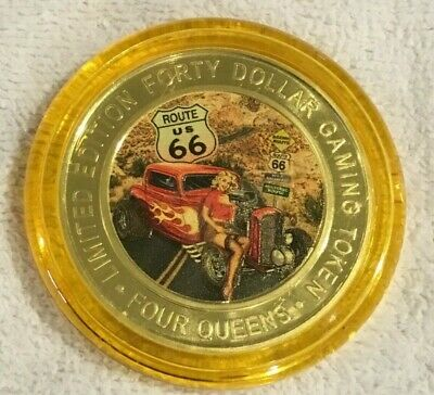 ROUTE 66 2019 FOUR QUEENS $40 Yellow Cap Silver Strike .999 Fine Silver