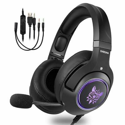 ONIKUMA Gaming Headset for Xbox One,PS4, PC, 3.5mm Stereo Wired Over Ear Ga K8C6