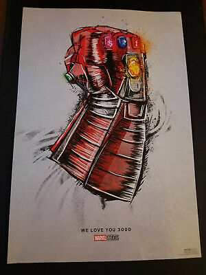 Avengers Endgame Movie Poster official re release theater We love you 3000 13x19