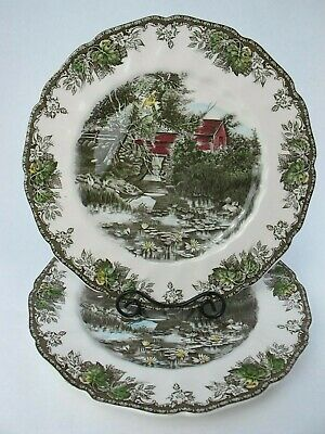 Johnson Bros The Friendly Village DINNER PLATES The Lily Pond Pattern  Set of 2