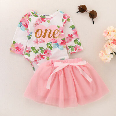 US 2Pcs Cute Toddler Infant Baby Girls Tops Romper Tutu Skirt Outfit Set Clothes
