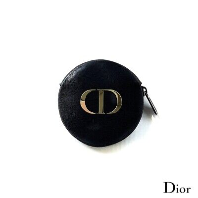 RARE Dior Synthetic Leather Black Mini Round Coin Purse Vip Gift Free Shipping