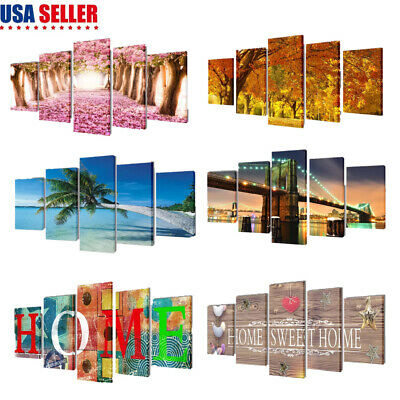 5-Panel Canvas Wall Print Set Modern Home Decor Room Wall Art Picture Multi-Type