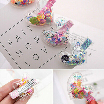 Girls Kids Heart Pearl Hair Barrettes Clips Sequins Hairpin Paillette Headwear