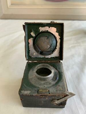 Antique Square Cased Traveling Inkwell / Glass Bottle Spring Open