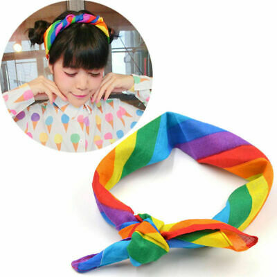 Rainbow Scarf Bandana Head Wrap Cotton Head Wrap Neck Wristband Handkerchief