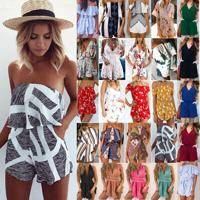 Women Sleeveless Bandeau Mini Playsuit Jumpsuit Casual Beach Shorts Dress Summer