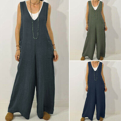 ZANZEA Women Plus Size Overalls Playsuit Romper Cotton Flare Wide Leg Jumpsuit