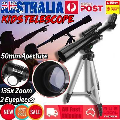 Kids Beginners Astronomical Telescope 50mm 135x Zoom HD w/2 Eyepieces Portable