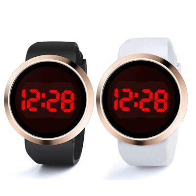 Fashion Unisex LED Digital Touch Screen Watch Round Electronic Wristwatches