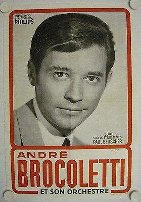 Affiche ANDRÉ BROCOLETTI Accordéon Ann.'50 '60 - Photo: Nisak