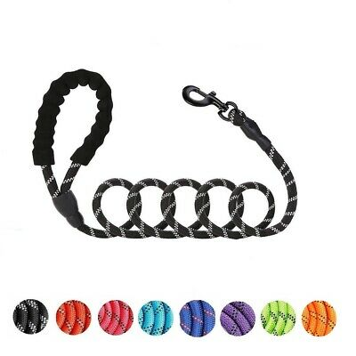 Heavy Duty Nylon Dog Lead Leash Rope with Padded Handle Reflective for Large Dog