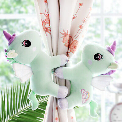 cute plush toy lovely rainbow wing unicorn soft doll curtain buckle gift 1pair