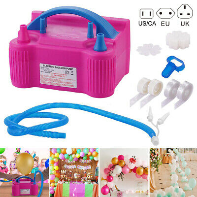 Portable Double Electric Balloon Air Pump Inflator 13000pa Blower Party Pink