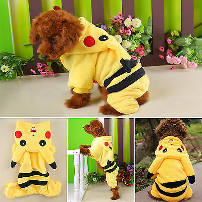 Small Pet Dog Puppy Cat Hoodie Jumper Coat Cute Pikachu Costumes Apparel Clothes