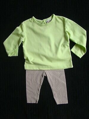 Baby clothes GIRL 6-9m outfit long sleeve green top/beige spot legging SEE SHOP!