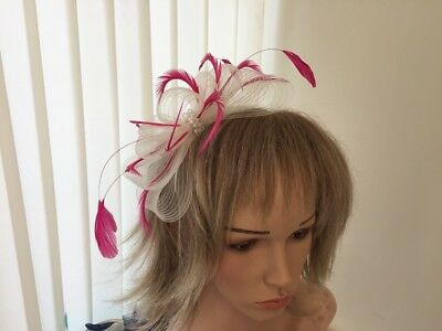Ivory  & Hotpink   Crin &  Feather Fascinator On Hairband, Can Be Custom Made