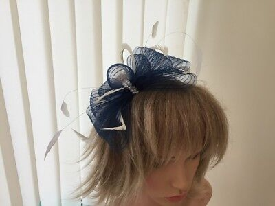 Navy & Ivory   Fascinator On Hairband, Can Be Custom Made To Match Dress