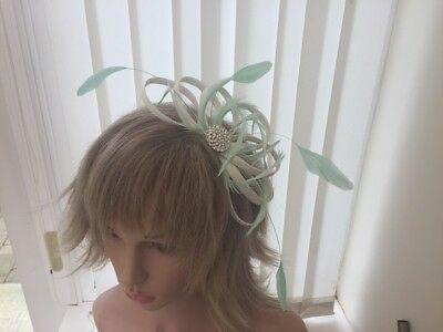 White & Mint Green  Sinamay &  Feather Fascinator,  Weddings, Can Be Custom Made