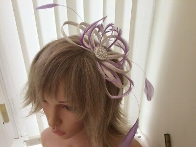 White & Lilac  Sinamay And Feather Fascinator,  Can Be Custom Made