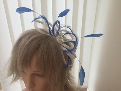 White & Cobalt Blue  Sinamay And Feather Fascinator,  Can Be Custom Made