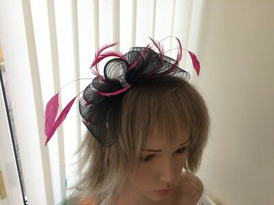 Black  & Hotpink   Crin &  Feather Fascinator On Hairband, Can Be Custom Made
