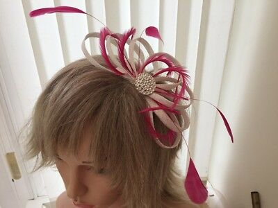 White & Hot Pink  Sinamay And Feather Fascinator,  Can Be Custom Made