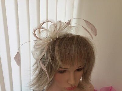 Ivory  & Nude Pink  Crin And Feather Fascinator On Hairband, Can Be Custom Made