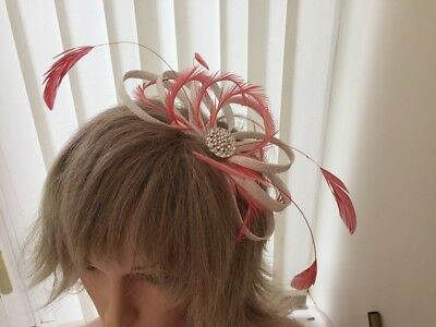 White & Coral  Sinamay And Feather Fascinator,  Can Be Custom Made