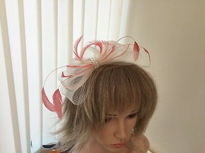 Ivory  & Coral   Crin &  Feather Fascinator On Hairband, Can Be Custom Made