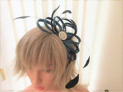 Teal & Black  Sinamay And Feather Fascinator Can Be Made To Match Outfit