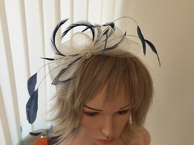 Ivory & Navy  Blue  Crin &  Feather Fascinator On Hairband, Can Be Custom Made