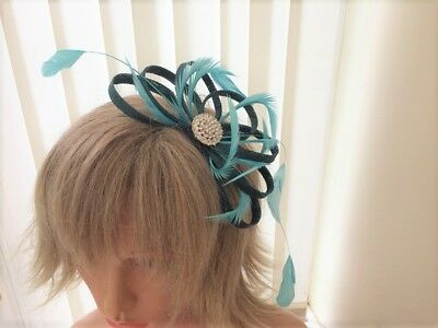 Teal & Turquoise  Sinamay And Feather Fascinator Can Be Made To Match Outfit