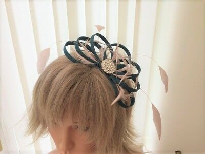 Teal & Blush Nude Pink  Sinamay  Feather Fascinator Can Be Made To Match Outfit