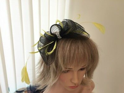 Black  & Yellow  Crin And Feather Fascinator On Hairband, Can Be Custom Made