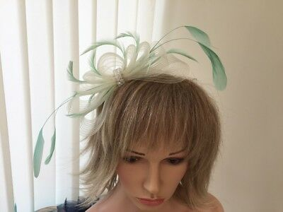Ivory  & Mint Green  Crin &  Feather Fascinator On Hairband, Can Be Custom Made