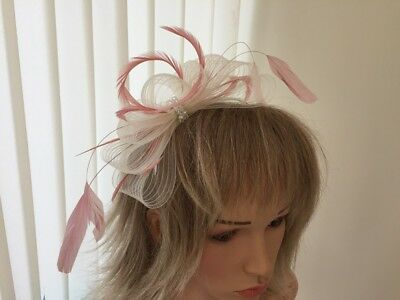 Ivory  & Rose Pink  Crin And Feather Fascinator On Hairband, Can Be Custom Made
